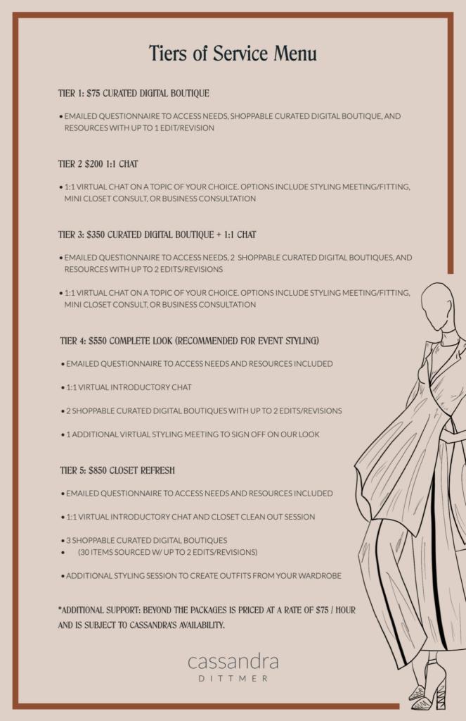 cassandra styling services menu
